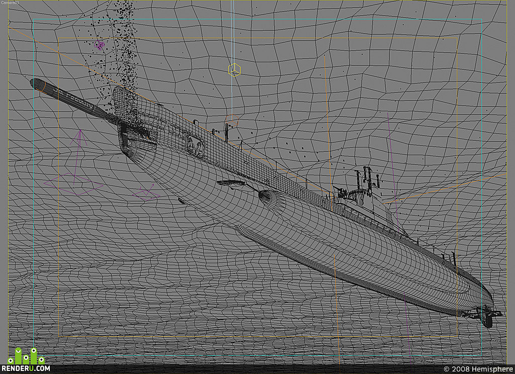 3D-сцена торпедной атаки ПЛ Щ-208