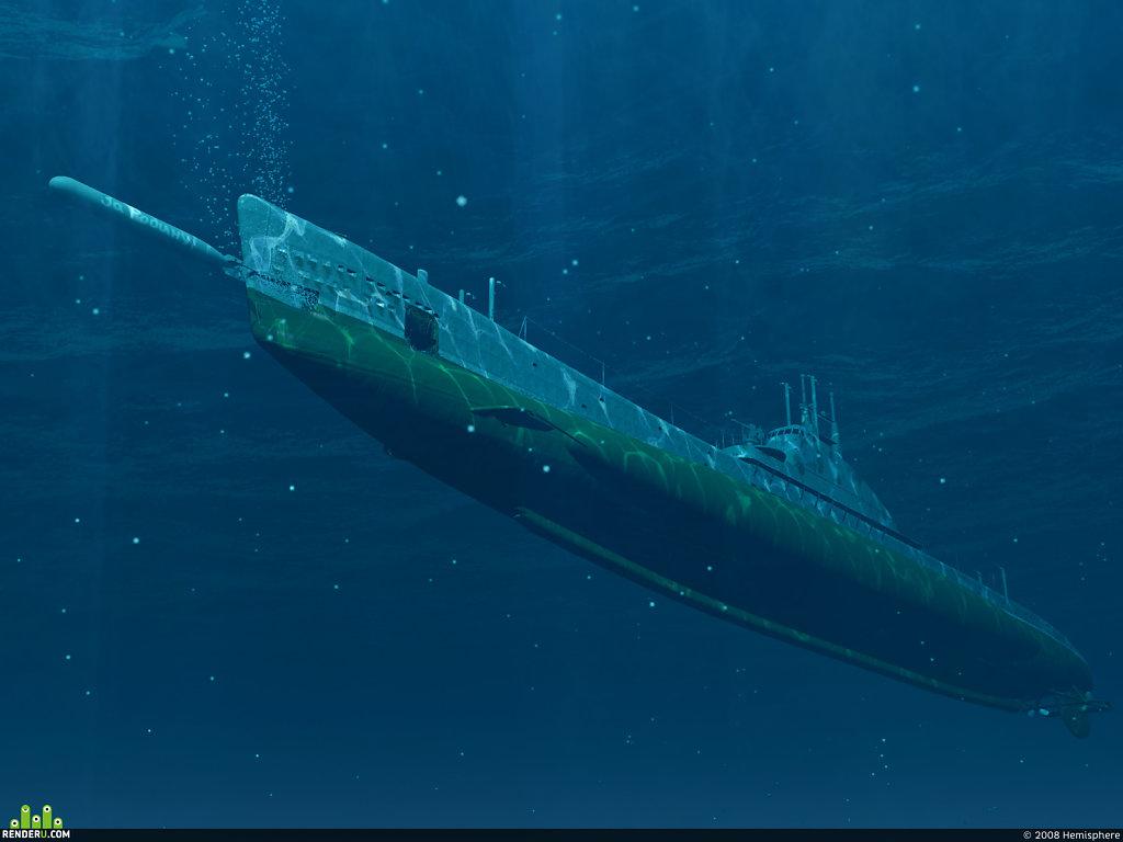 Рендеринг 3D-сцены торпедной атаки ПЛ Щ-208