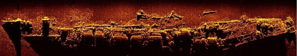 Cнимок ЭМ ФРУНЗЕ на дне, сделанный с помощью Гидролокатора Бокового Обзора (ГБО)